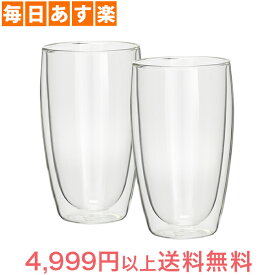 Bodum ボダム パヴィーナ ダブルウォールグラス 2個セット 0.45L Pavina 4560-10US Double Wall Thermo Tall Drink Glass set of 2 クリア 北欧 [4999円以上送料無料]