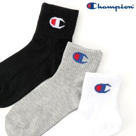 Champion チャンピオン ビッグ ロゴ クォーターレングスソックス ソックス キッズ 靴下 3足セット ロゴ スポーツ CBSCP201 メール便可