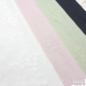 60ローンレース フラワーブーケ刺繍(生地 布 刺繍生地 レース生地 コットン100% 綿100% 薄手 花柄 ハンドメイド)【メール便2.5mまで/50cm単位】