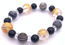 風水四神!天然石水晶金彫り12mm玉&天眼石&オニキスのブレスレット