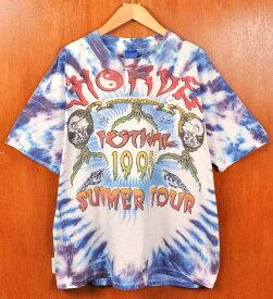 【ビッグTシャツ】ヴィンテージ 1995年 USA製 / GILDAN / HORDE FESTIVAL 1995 / 半袖Tシャツ / ブルー系 タイダイ柄 / メンズXL【中古】▽