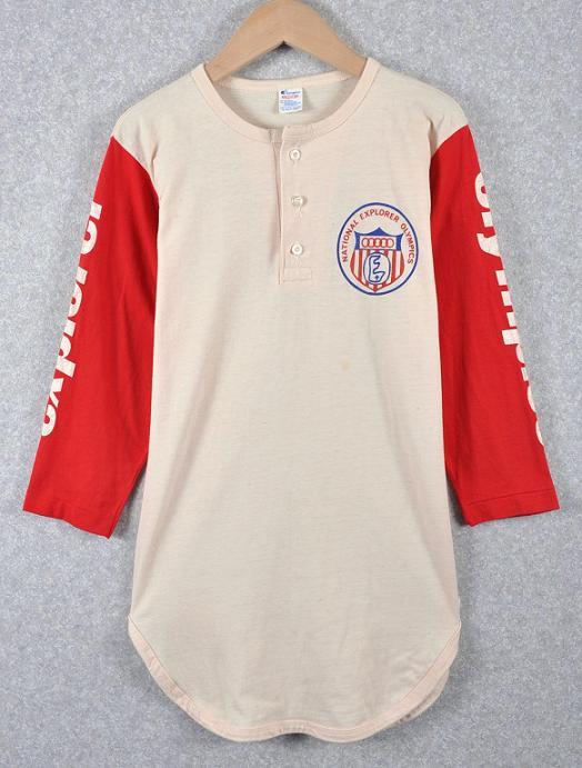 ビンテージ 1980年代 USA製 トリコタグ / Champion チャンピオン / ベースボールシャツ / クリーム×レッド / メンズS相当【中古】♪
