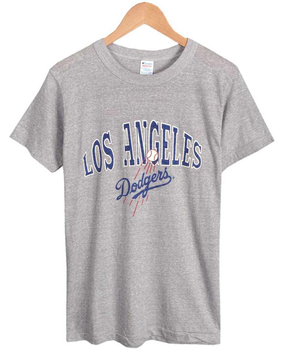 【デッドストック】【展示品】ヴィンテージ 1980年代 USA製 トリコタグ / Champion チャンピオン / MLB Los Angeles Dodgers ロサンゼルス ドジャース / 半袖Tシャツ / 霜降りグレー / メンズS相当【新品】♪○
