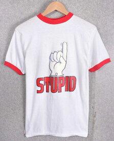 ヴィンテージ 1975年製 / ROACH ローチ デザイン / ラバープリント STUPID ファニー系ジョーク / 半袖リンガーTシャツ / ホワイト×レッド / メンズS相当【中古】○♪♪