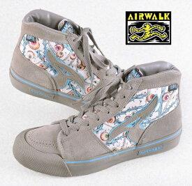 ヴィンテージ 1980年代 / AIRWALK エアウォーク / スケートシューズ / ラージA EYEBALL アイボール / グレー 目玉総柄 / JPN27.5cm【中古】♪