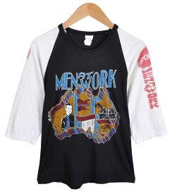 ヴィンテージ 1980年代 カナダ製 / MEN AT WORK メン アット ワーク / ラグランバンドTシャツ / ブラック×ホワイト / メンズXS相当【中古】○♪♪