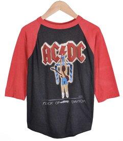 ヴィンテージ 1980年代 USA製 / AC/DC エーシー・ディーシー / FLICK OF THE SWITCH / ラグランバンドTシャツ / ブラック×レッド / メンズM相当【中古】○
