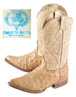Made in Mexico and CARRETA BOOTS caletas boots / Western boots / beige ostrich / JPN21.0cm