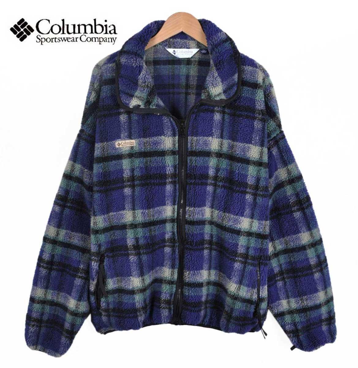 【ビッグサイズ】ヴィンテージ 1990年代 USA製 / Columbia コロンビア / フルジップ パイル フリースジャケット / ブルー系 チェック柄 / メンズ2XL相当【中古】○♪♪