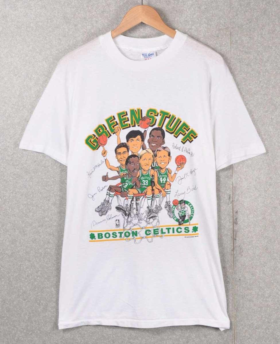 ヴィンテージ 1980年代 USA製 / SALEM セーラム / Champion チャンピオン ボディ / NBA Boston Celtics ボストン セルティックス / チーム似顔絵 半袖Tシャツ / ホワイト / メンズM相当【中古】▽