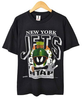 / Vintage 1993 USA-NFL NEWYORK JETS New York Jets / LOONEY TUNES Looney Tunes / Marvin-the Martian / short sleeve t-shirt black / men's
