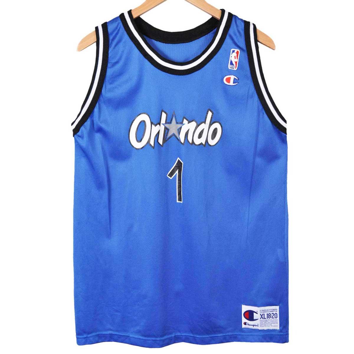 ヴィンテージ 1990年代 USA製 / CHAMPION チャンピオン / NBA ORLANDO MAGIC オーランド マジック / アンファニー・ハーダウェイ / バスケ タンクトップ ユニフォーム / ブルー / メンズS相当【中古】▽