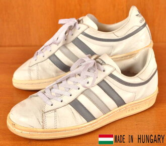 Vintage 1980s Hungary made / adidas adidas / tennis locate sneaker / White x gray x light grey leather / JPN25.0cm equivalent: