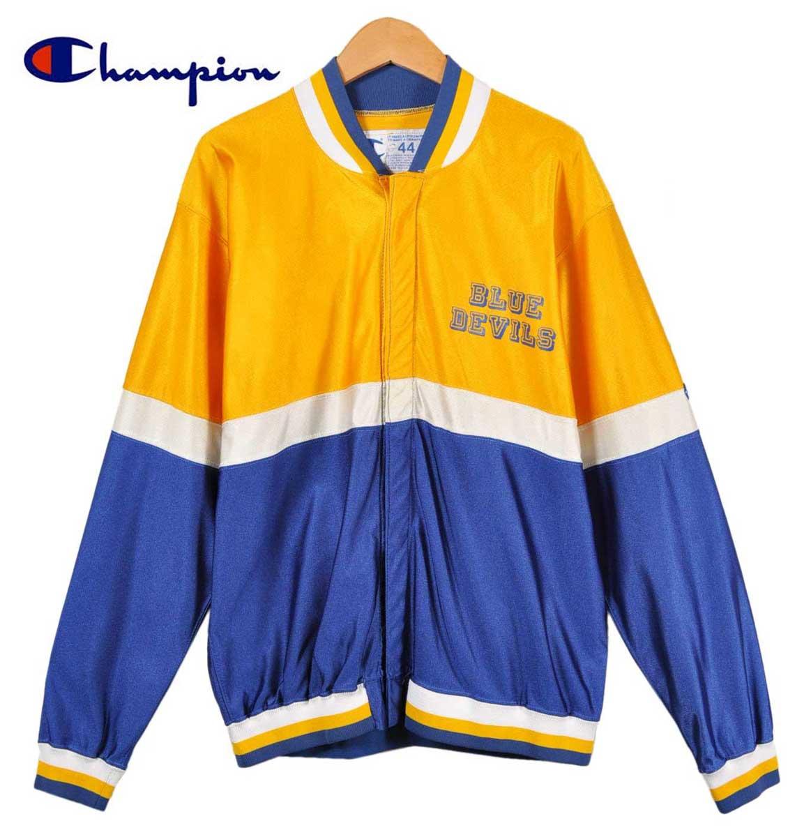 ヴィンテージ 1990年代 USA製 / CHAMPION チャンピオン / BLUE DEVILS ブルーデビルス / チーム別注 フロントスナップ ジャージ / イエロー×ブルー×ホワイト / メンズXL相当【中古】▽♪