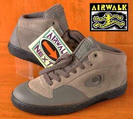 【デッドストック】【展示試着品】 ヴィンテージ 1990年製 / AIRWALK エアウォーク / ミッドカット スケートシューズ / NEXT WINDUP ネクスト ウインドアップ / グレー レザー×スエード / JPN25.0cm【新品】▽