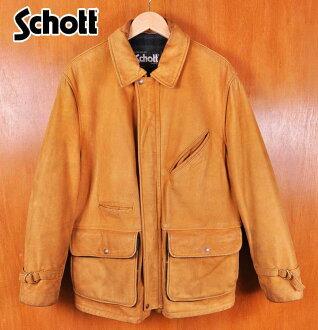 USA製造/Schott打擊/反毛皮皮革上裝/羊毛檢查班車/駱駝棕色反毛皮皮革/38男子的M適合▽
