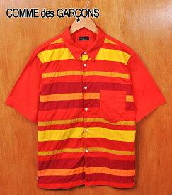 ヴィンテージ 1999年 日本製 / COMME des GARCONS HOMME PLUS コム・デ・ギャルソン オム プリュス / フロント切り替えボーダー コットン 半袖シャツ / レッド ボーダー柄 / メンズM相当【中古】▽