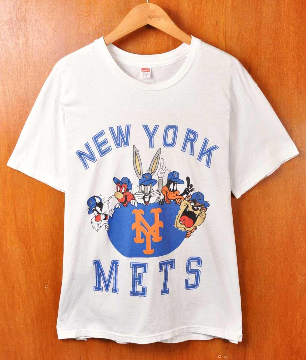 【ビッグTシャツ】【コラボ】ヴィンテージ 1990年代 USA製 / Hanes ヘインズ / Warner Bros. ワーナーブラザーズ LOONEY TUNES ルーニー テューンズ / MLB New York Mets ニューヨーク・メッツ / 半袖Tシャツ / ホワイト / メンズXL【中古】▽