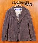 2002年 日本製 /JUNYA WATANABE MAN COMME des GARCONS ジュンヤワタナベ マン コム・デ・ギャルソン / ブリーチ加工 ベロア テーラードジャケットスタイル 3つボタンジャケット / グレー / メンズS【中古】▽