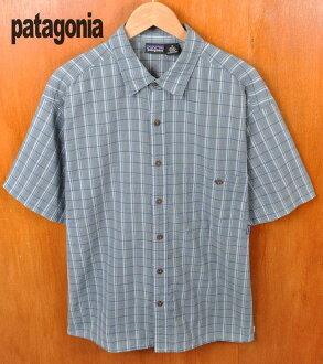 2002 年 (SP2002) / 巴塔哥尼亞巴塔哥尼亞 / Puckerware 襯衫 packarwareshats / 墊圈加工的短袖襯衫和藍色灰色系統檢查模式 / 男人的 L 等效︰