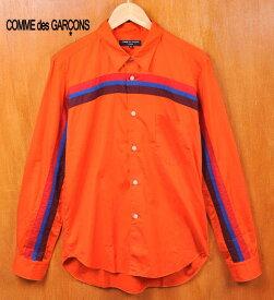 2005年 日本製 / COMME des GARCONS HOMME コム・デ・ギャルソン オム / コットン 長袖シャツ / オレンジ 袖〜胸ライン / メンズM【中古】▽