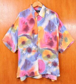 樸素的系統花紋/人2XL在意大利製造/復古1990年代/RISCATTO/100%銅氨纖維短袖襯衫/相當▽