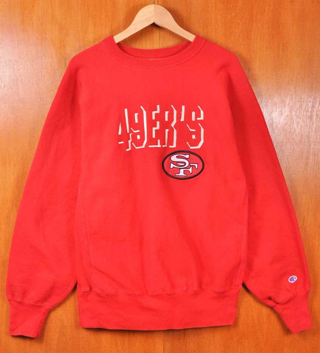 ヴィンテージ 1990年代 USA製 / Champion チャンピオン / NFL SAN FRANCISCO 49ers サンフランシスコ フォーティーナイナーズ / リバースィーブ スウェット / レッド / メンズL【中古】▽