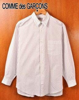 年份 1999 年在日本 / 纪念 des 住洪姆 com,德,Garson OM / 棉长袖衬衫 / 白色基地 * 棕色 x 粉红色条纹图案和男装 XL 等效︰