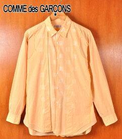 ヴィンテージ 1990年代 日本製 / COMME des GARCONS HOMME コム・デ・ギャルソン オム / フロント 切りっぱなし風 切り替え コットン 長袖シャツ / 薄オレンジ / メンズL相当【中古】▽
