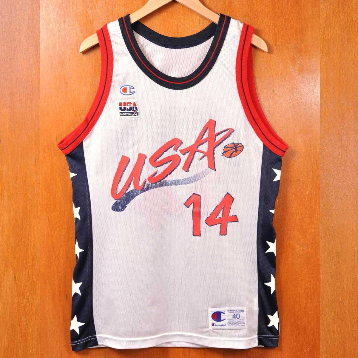 ヴィンテージ 1990年代 USA製 / CHAMPION チャンピオン / オリンピック ドリームチーム / グレン・ロビンソン / バスケ タンクトップ ユニフォーム / ホワイト×ネイビー×レッド / メンズS相当【中古】▽