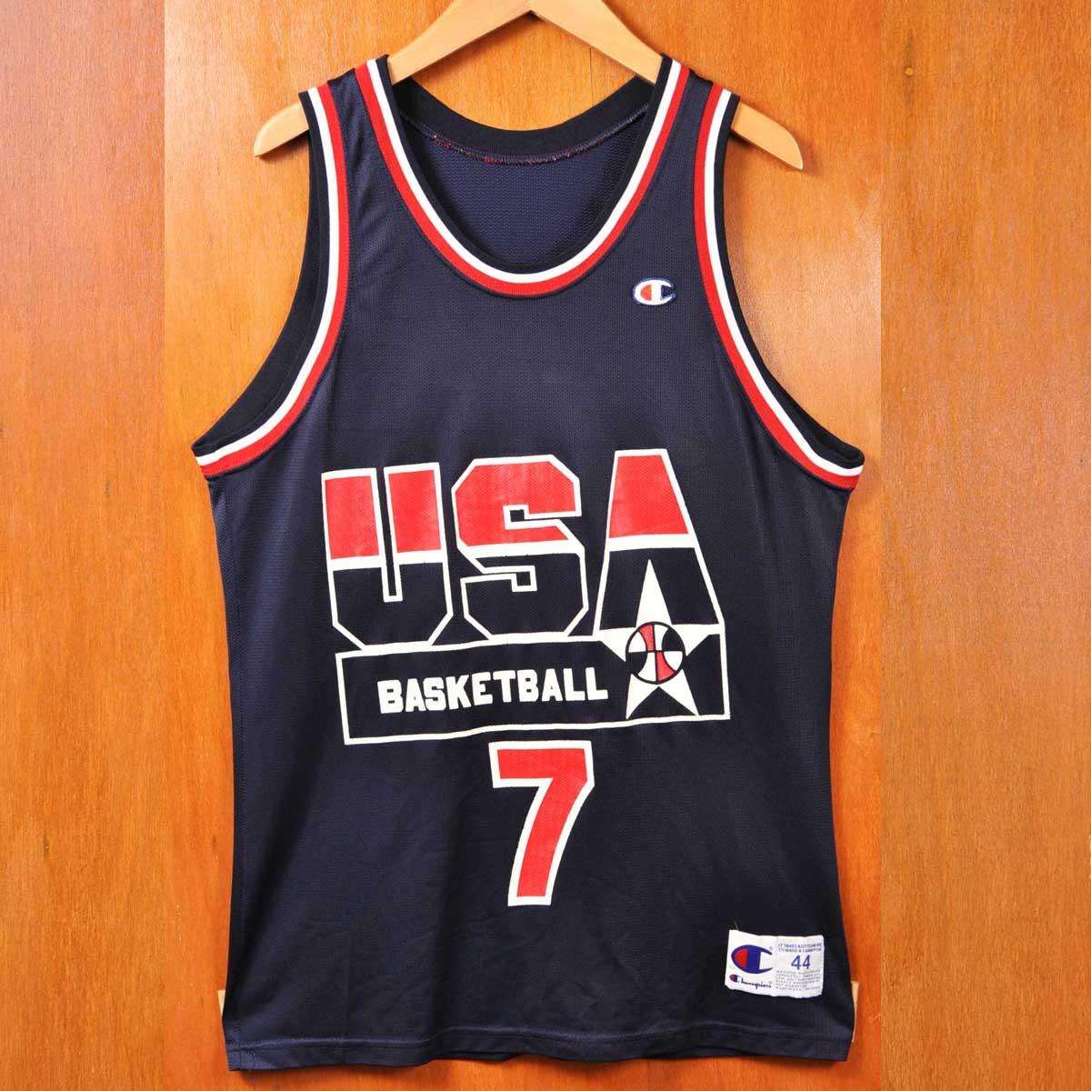 ヴィンテージ 1990年代 USA製 / CHAMPION チャンピオン / ドリームチーム / ショーン・ケンプ / バスケ タンクトップ ユニフォーム ナンバリング / ネイビー×レッド / メンズS相当【中古】▽