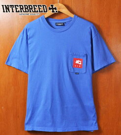 INTERBREED インターブリード / 胸ポケット 半袖Tシャツ / ブルー パロディ / メンズL相当【中古】▽