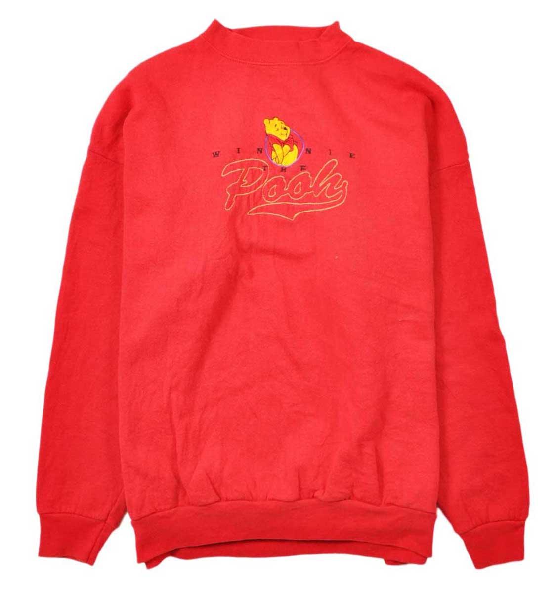 【ビッグサイズ】ヴィンテージ 1990年代 USA製 Disney ディズニー WINNIE THE POOH くまのプーさん スウェット レッド 刺繍 メンズXL【中古】▼