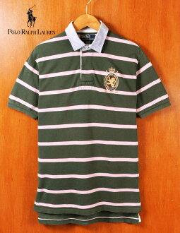 Polo Ralph Lauren polo Ralph Lauren rugby shirt-style short sleeves polo shirt dark green X pink horizontal stripes chest emblem embroidery men M▼