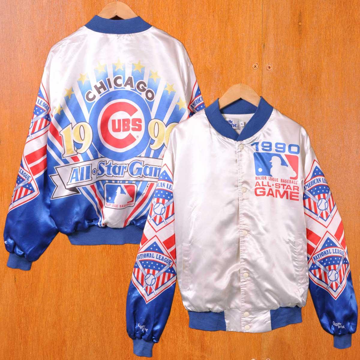 【ビッグサイズ】ヴィンテージ 1990年代 USA製 Chalk Line チョークライン MLB ALLSTAR Chicago Cubs シカゴ・カブス ナイロンスタジャン スタジアムジャンパー ホワイト×ブルー×レッド ナイロンサテン メンズXL【中古】▼