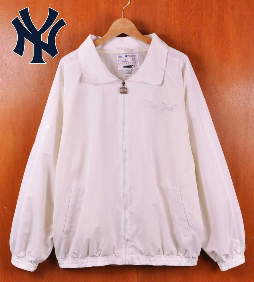 【ビッグサイズ】PUMA プーマ MLB New York Yankees ニューヨーク ヤンキース ナイロンジャケット オールホワイト メンズ2XL相当【中古】▼