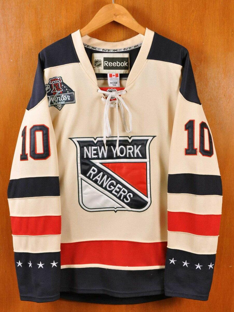 【ビッグサイズ】2012年 カナダ製 Reebok CCM リーボックCCM NHL New York Rangers ニューヨーク・レンジャース マリアン・ガボリック オーセンティック ホッケーシャツ ナンバリング ユニフォーム オフホワイト×ネイビー×レッド メンズ2XL相当【中古】▼