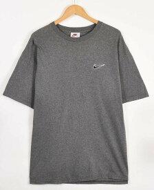 【ビッグTシャツ】ヴィンテージ 1990年代 USA製 NIKE ナイキ 半袖Tシャツ 霜降りグレー×ワンポイントロゴ刺繍 メンズXL相当【中古】▼