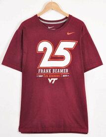 【ビッグTシャツ】NIKE ナイキ バージニア工科大学 ホーキーズ フットボールヘッドコーチ フランク・ビーマー 就任25周年記念 カレッジ系 半袖Tシャツ ワインレッド メンズXL【中古】▼