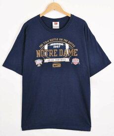 【ビッグTシャツ】NIKE ナイキ ノートルダム大学 カレッジ系 半袖Tシャツ ネイビー メンズXL【中古】▼