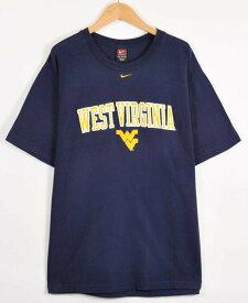 【ビッグTシャツ】NIKE ナイキ ウエストバージニア大学 カレッジ系 半袖Tシャツ ネイビー メンズXL【中古】▼