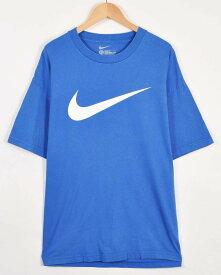 【ビッグTシャツ】NIKE ナイキ 半袖Tシャツ ブルー デカロゴ メンズXL【中古】▼