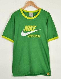 【ビッグTシャツ】NIKE ナイキ リンガーTシャツ 半袖Tシャツ グリーン×ライムイエロー メンズXL【中古】▼