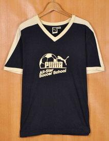 【ビッグTシャツ】ブルガリア製 PUMA プーマ リンガーTシャツ 半袖Tシャツ ネイビー×ライトクリーム メンズXL【中古】▼