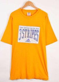 【ビッグTシャツ】ヴィンテージ 1990年代 USA製 adidas アディダス 半袖Tシャツ イエロー メンズXL相当【中古】▼
