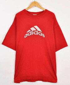 【ビッグTシャツ】adidas アディダス 半袖Tシャツ レッド メンズXL【中古】▼
