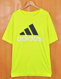 【ビッグTシャツ】adidas アディダス 半袖Tシャツ 蛍光イエロー ビッグロゴ メンズXL【中古】▼