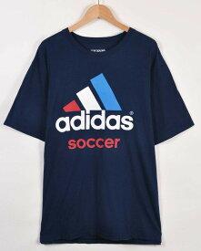 【ビッグTシャツ】adidas アディダス 半袖Tシャツ ネイビー ビッグロゴ メンズXL【中古】▼