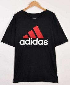 【ビッグTシャツ】adidas アディダス 半袖Tシャツ ブラック ビッグロゴ メンズXL【中古】▼