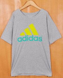 【ビッグTシャツ】adidas アディダス 半袖Tシャツ 霜降りグレー ビッグロゴ メンズXL【中古】▼